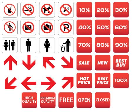 prohibido: pictograma prohibido descuentos de venta Vectores