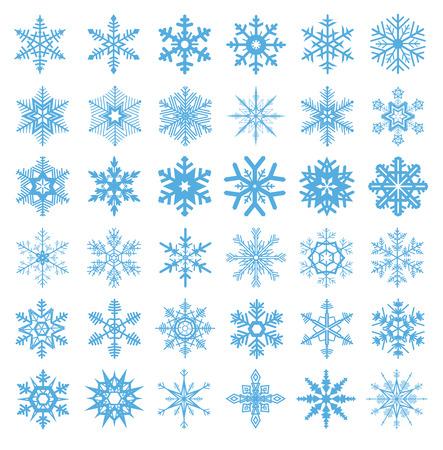 flocon de neige: collection de 36 flocons de neige vecteur