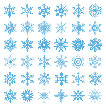 scaly: collection of 36 snowflakes vector