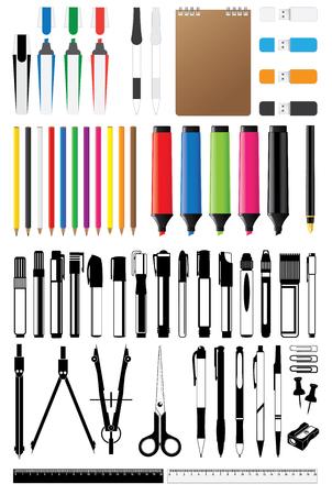 stationery collection vector Çizim