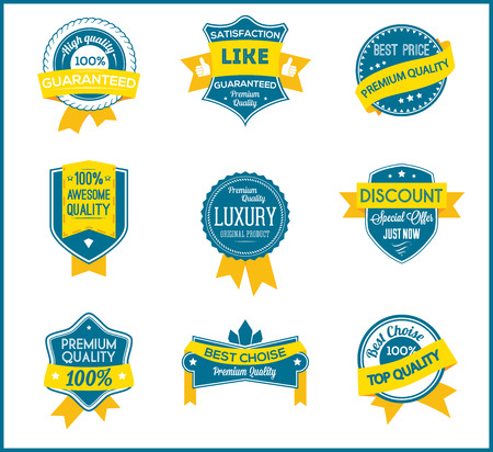 seller: Blue and yellow marketing labels set of 9 Illustration