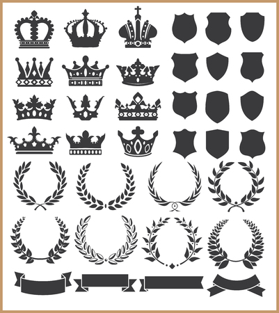 badge shield: Wreaths and crowns Illustration