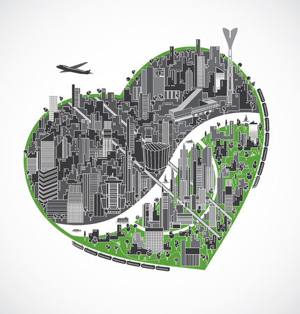 industrial icon: Big city illustration