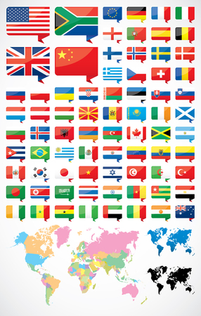 Flags and world map