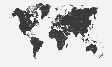 Černá a bílá politická mapa světa vektoru