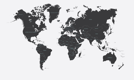 european countries: Black and white political map of the world vector