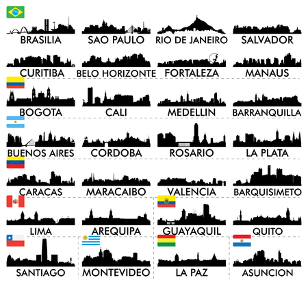 silhouette america: City skyline South America