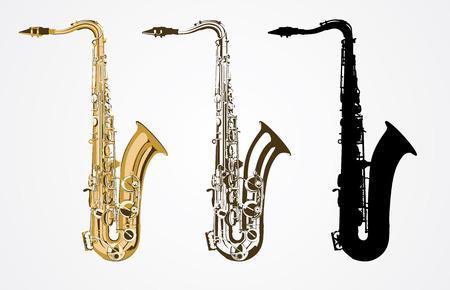 saxofón: Clásico vector de saxofón Vectores