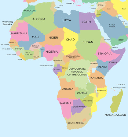 Coloured political map of Africa Stock Illustratie