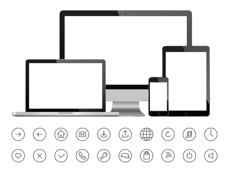 electronic devices: Mobile devices and minimalistic icons Illustration
