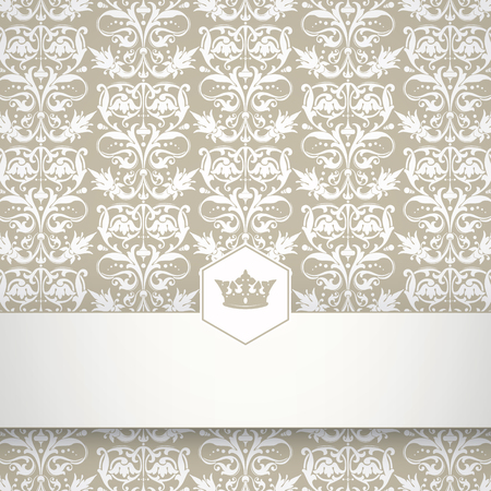 place for your text: Ornamental floral pattern with place for your text