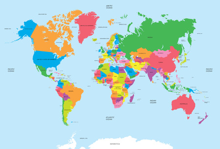 Political map of the world vector Çizim