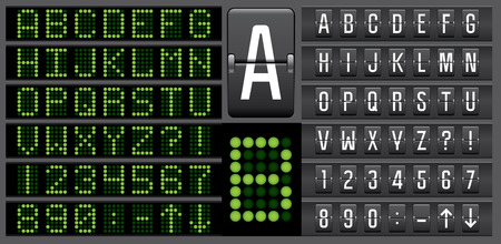 tableau: Scoreboard mechanical and electronic panel letters alphabet