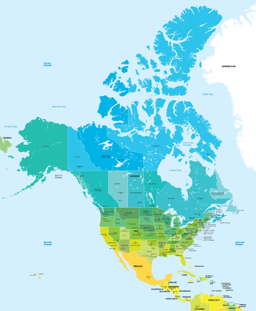 Color map of the USA and Canada