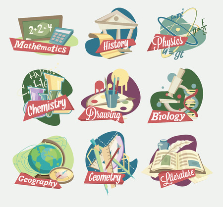 history books: Emblems of school subjects