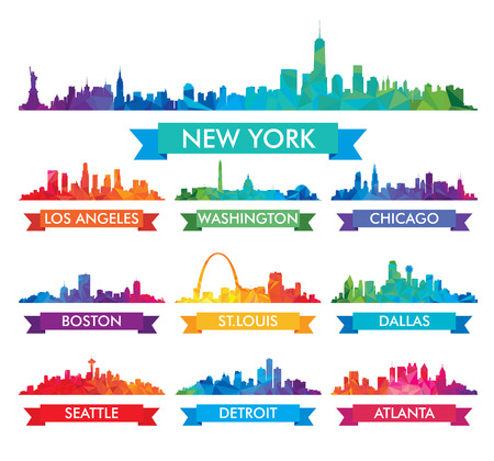 new york skyline: City skyline of America Colorful vector illustration Illustration