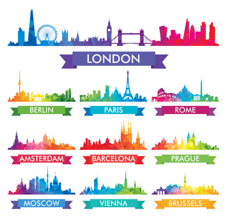 City skyline of Europe Colorful vector illustration Zdjęcie Seryjne - 70605386