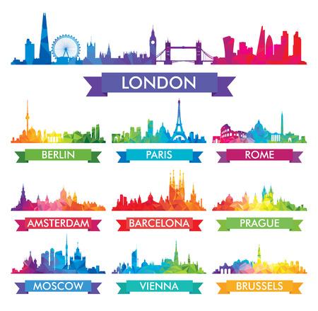 horizonte de la ciudad de Europa de ilustración vectorial colorido