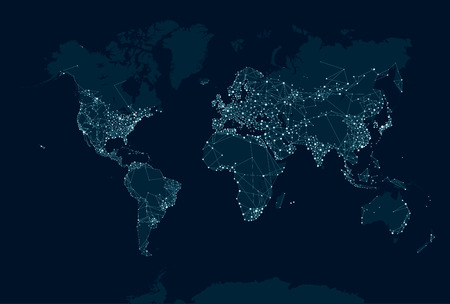 travel map: Communications network map of the world Illustration
