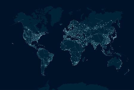 comunicação: Comunicações mapa de rede do mundo Ilustração