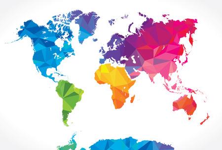 wereldbol: Low poly wereldkaart Stock Illustratie