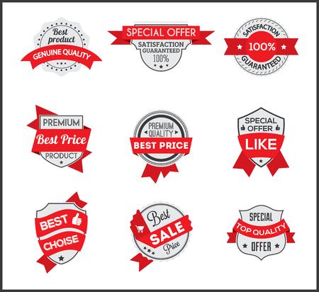 choise: Grey and red marketing label (set 6) Illustration