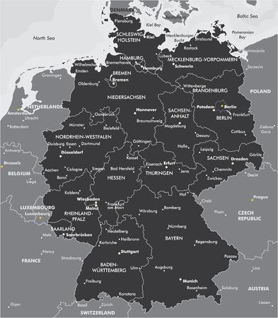 독일의 흑백지도 일러스트
