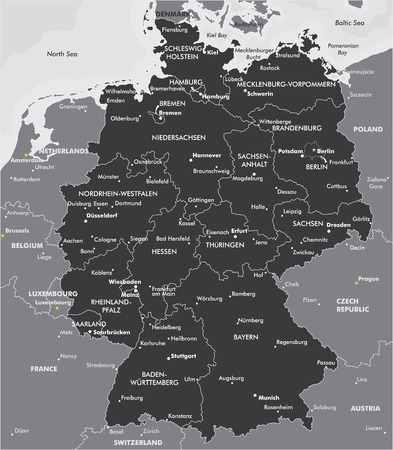 cologne: Black and white map of Germany
