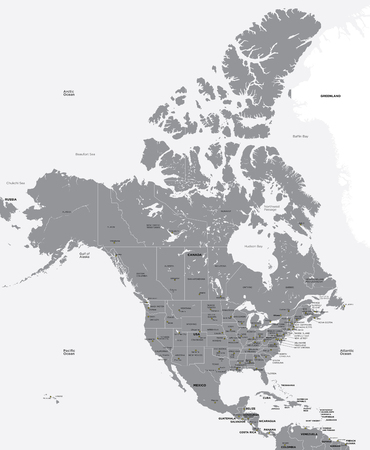 north america: Black and white map of the USA and Canada