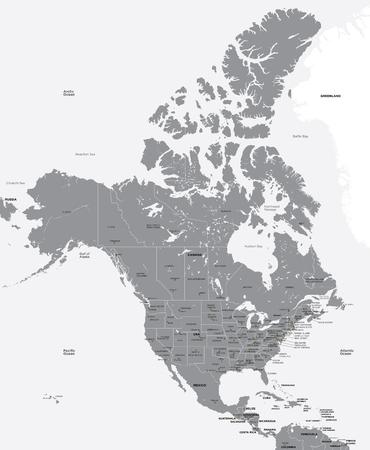administrativo: Mapa en blanco y negro de los EE.UU. y Canadá