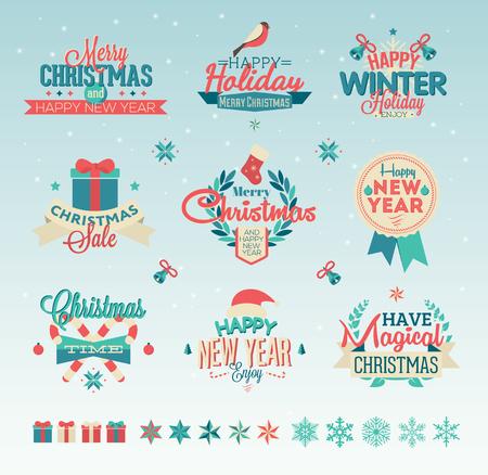 Set christmas vintage typography design vector logos 矢量图像