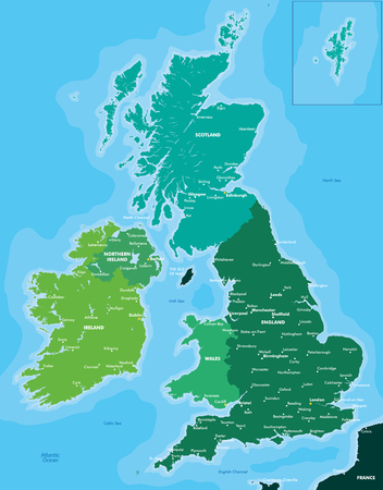 northern ireland: Color map of Great Britain and Ireland Illustration