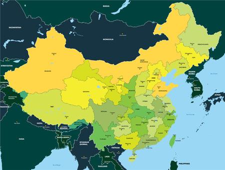 Carte en couleur de Chine Vecteurs