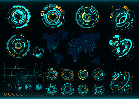 interface scheme: Abstract future, concept vector futuristic interface. Communications map of the world