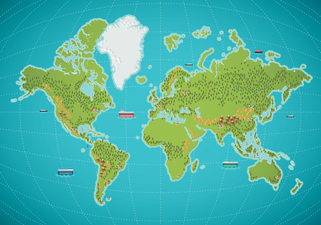Colorful world map vector illustration Reklamní fotografie - 64728232