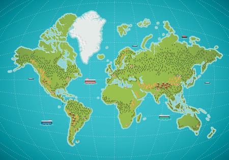 mapa mundi: ilustración del mundo colorido mapa vectorial