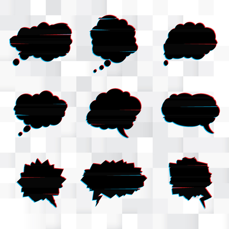 chatter: Vector set of black speech bubbles in the style of a glitch