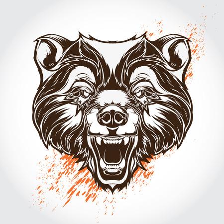 Vector tattoo bear Illustration