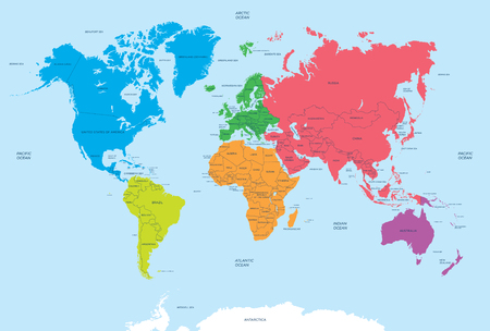 mainland: Continents of the World and political Map