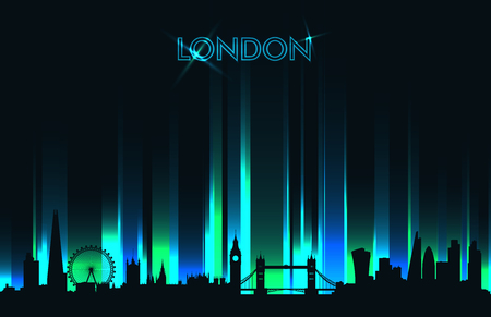 Neon London skyline detailed silhouette, vector illustration Çizim