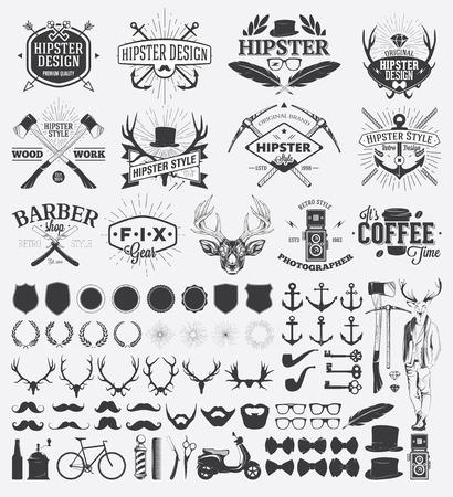 sunburst: Hipster style design elements and vintage labels