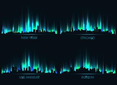 paisajes noche pareja: Neón horizonte de las ciudades norteamericanas: Nueva York, Chicago, Los Angeles, Boston Vectores
