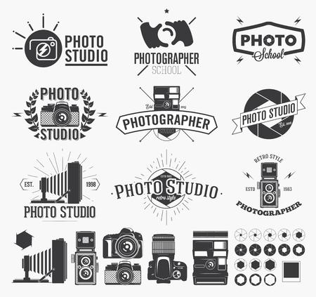La fotografía y el estudio de la foto, Etiquetas cámara clásica Ilustración de vector