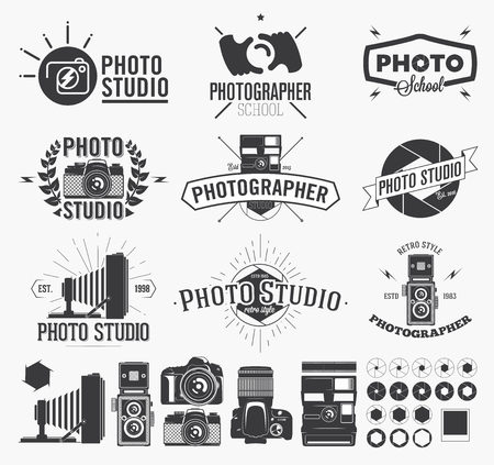 Photographie et studio photo, étiquettes de caméra classiques