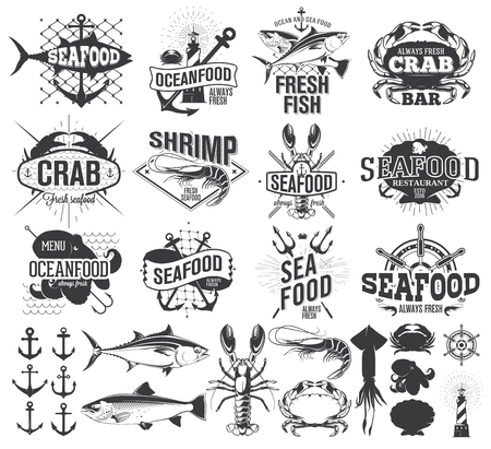 Seafood labels and illustration, design elements Иллюстрация