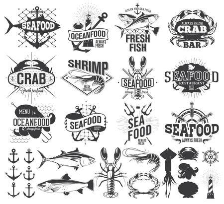 Seafood labels and illustration, design elements Illustration