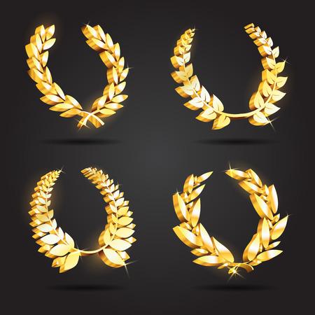 Set of gold award laurel wreaths Çizim