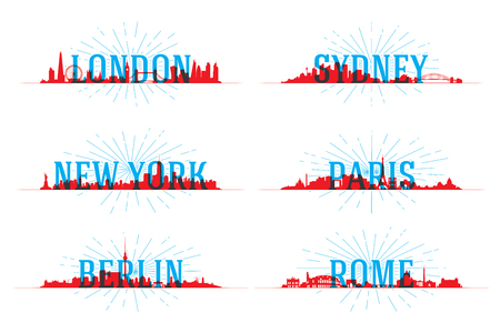 city landscape: Set of vector city skyline world Illustration