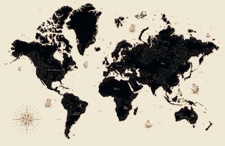 Ozdobna stara mapa świata Ilustracje wektorowe