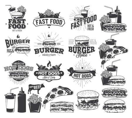 Fast Food Label and design elements 일러스트